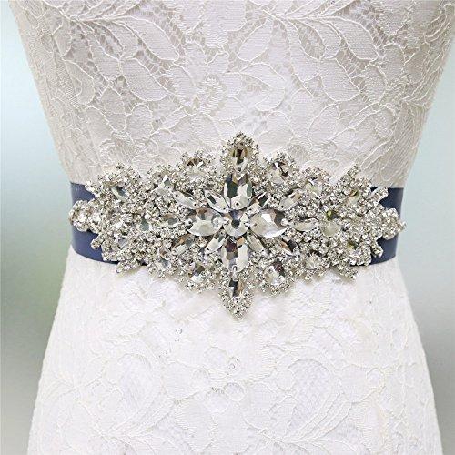 Zdada Kristall Gürtel Damen Hochzeit Gürtel Brautkleid Schärpe Kristall Strass Applique-8 Farbe Band Optionen, Marineblau, RA004