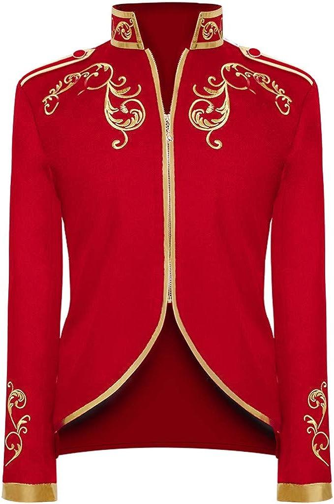 Men Tailcoat Jacket Steampunk Victorian Coat Vintage Long Sleeve Embroidery Outwear Coat