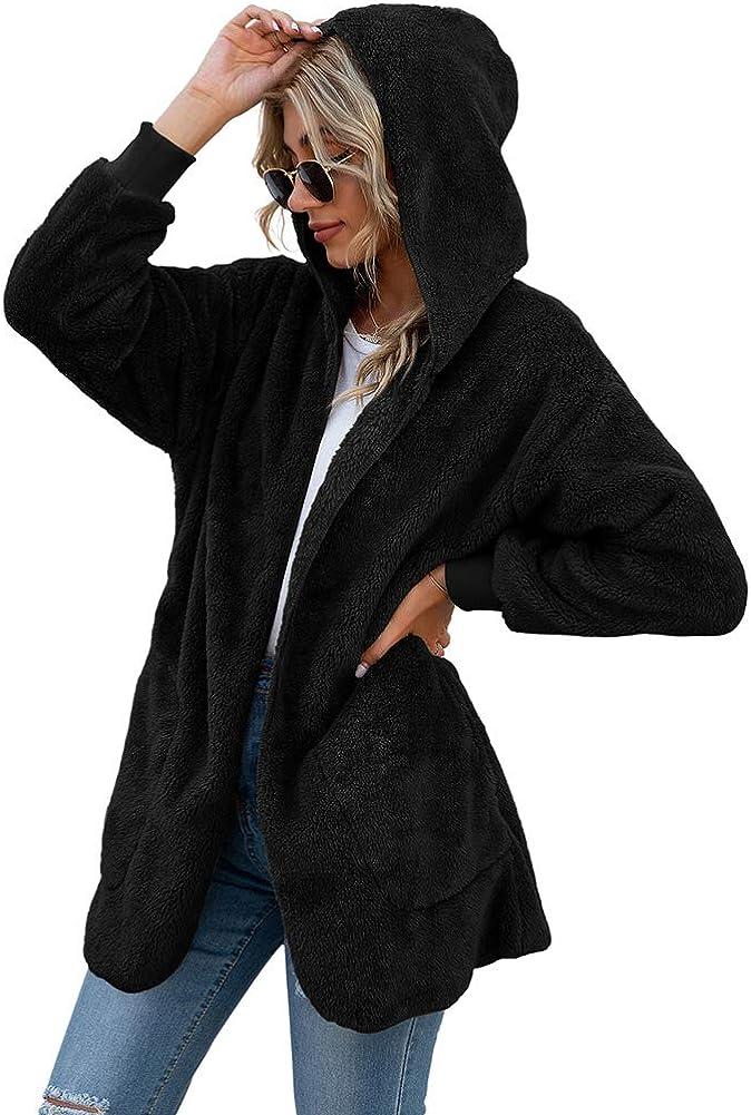 LONGYUAN Women's Long Sleeve Solid Cardigans Finally popular brand Seattle Mall Outwea Fuzzy Fleece