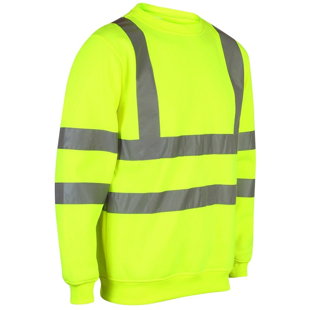 Hi Viz Crew Safety Fleece Jumper Sweatshirt Visibility Work Security Top