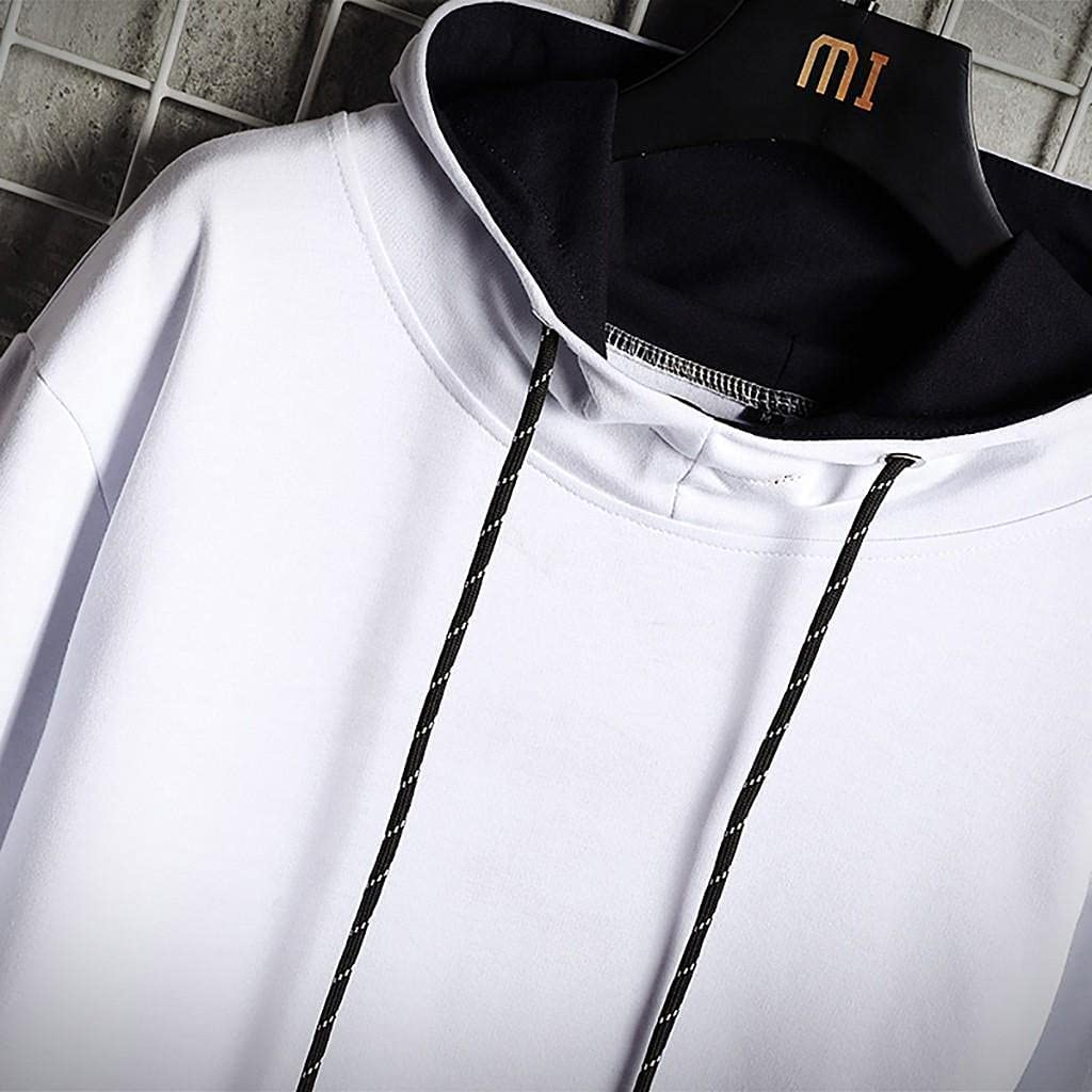 Qsctys Hooded Sweatshirts Men Crewneck Fashion Athletic Hoodies Patchwork Pullover Loose Casual Sport Long Sleeve Tops