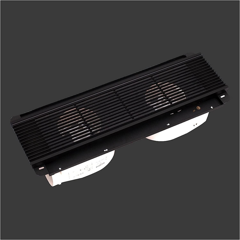 Ventilador extractor Ventilador oculto rectangular Ventilador de techo Parrilla Doble motor Ventilador de escape de doble núcleo potente ventilador ventilador, blanco / negro, 40W × 2 Extractor