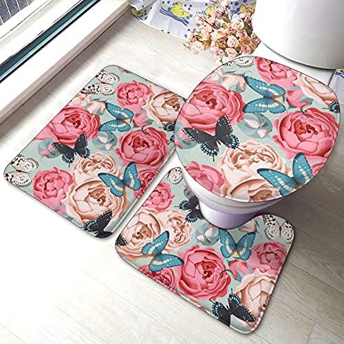 Juego de alfombras de baño de 3 Piezas Butterfly Peony Roses Juego de Alfombrillas Antideslizantes para baño alfombras Asiento de Inodoro, Cubierta para Tapa, Alfombrilla Antideslizante
