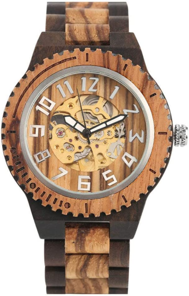 unisex XKOEY Wooden Watch Men's Wat Cheap sale Black Ebony Mechanical