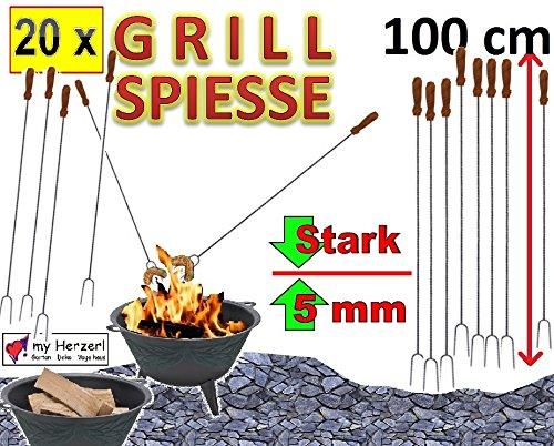 Lot de 20 géant 100 cm de long à brochettes würstchenspiesse pain griller viandes et légumes (attention : pas de télescope mais ferme (solide) de la forme en acier forgé) idéal pour le camping, les loisirs, le feu de camp, long, extérieur-anniversaire outdoor cS-brasero, pique-nique, barbecue de pique-nique, gartenöfen betowa, n', et raclette pour les lots lieu barbecue de pique-nique et pince spatule pour barbecue, etc.