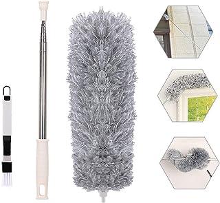IZSUZEE Plumero de Limpieza, Plumas Plumero de Microfibra Lavables Flexible, Plumero Coche de Telescópico Atrapapolvo Extensible(40cm - 240cm), Plumeros para el Coche/Casa/Oficina/Techo, Gris