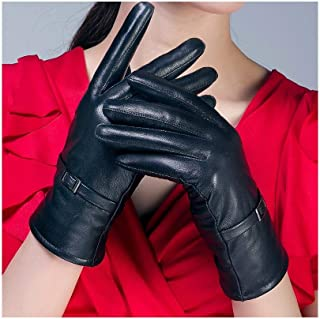SHENTIANWEI Leather Gloves Women's Points and Velvet Winter Warm Thick Leather Gloves (Color : Black, Size : M)