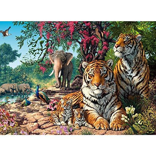 ArmanII DIY Diamond Painting, strasssteentjes, embroidery pictures kunst voor thuis, muurdecoratie Tiger 15,7 x 11,8 in 1 verpakking