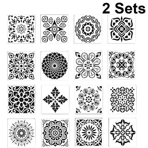 Exceart 2 Sets Mandala Puntjes Stencils Herbruikbare Schilderij Sjablonen Voor Diy Rotsen Steen Airbrush Muur Kunst Canvas Houten Meubelen Kaarten Projecten