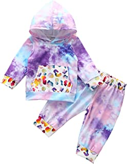 Baby Boys Girls Long Sleeve Tie Dye Hoodie Tops and Pants Outfit with Sports Pocket Fall Winter