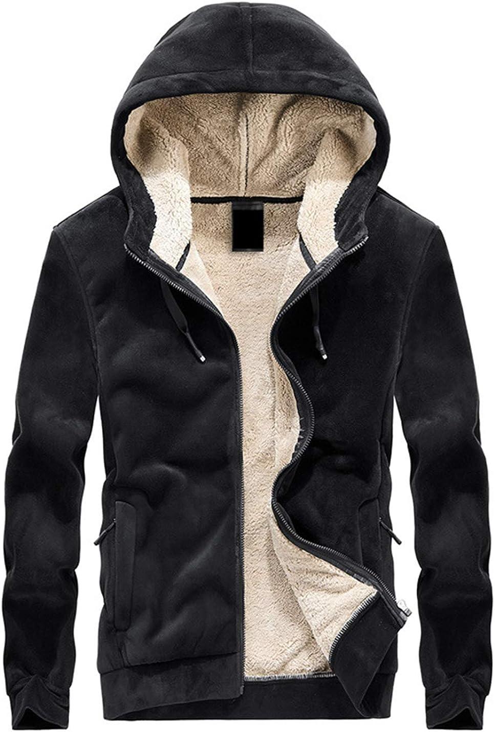 Lentta Men's Casual Fleece Sherpa Lined Thicken Hoodie Zipper Sweatshirt Jackets