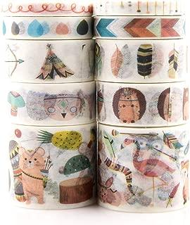 10 Rolls Washi Masking Tape Set for Kids/Indian Animals Print Washi Tape for Scrapbooking,Planners,Journal (Indian Animals)