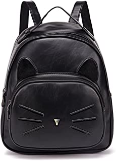 Women Mini Leather Backpacks Cute Cat Daypack Rucksack Small Bags Black