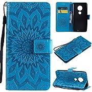 Moto G7 Case, KKEIKO Moto G7 Flip Leather Wallet Case Notebook Style, Sun Flower Design Shockproof Cover for Moto G7 - Blue