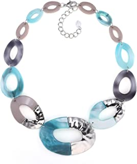 FAMARINE Statement Collar Necklace, Aqua Bohemia Chunky Resin Metal Chain Necklace for Women Jewelry