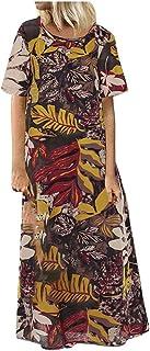 Women Short Sleeve Party Long Dress, Ladies O-neck Flower Printed Plus Size Maxi Dress