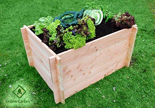 GrünerGarten® Hochbeet Komplett-Set GRÖN M-80 - Premiumqualität, Bio Douglasie Blockbohlen, sehr robust, sehr einfacher Aufbau ohne Werkzeug, völlig schadstofffrei