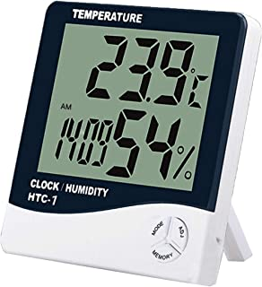 Sazoley Digital Hygrometer Thermometer Indoor Temperature Monitor Humidity Gauge Large LCD Weather Station Alarm Clock wit...