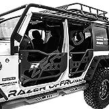 Razer Auto Black Textured Rock Crawler Off Road 4pcs Front+Rear Tubular 4 Door Replacement Set (Black) that Fits 07-17 Jeep Wrangler JK