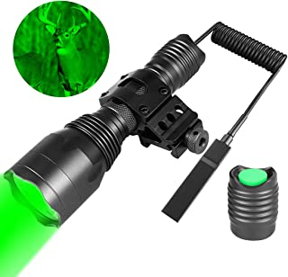 Fyland Tactical Flashlight - 350 Yards Green Hunting Flashlight with Universal Picatinny Rail Mount,  Remote Pressure Switch,  Rechargeable Batteries and Charger Included for Long Distance Night Hunting