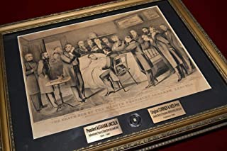 """ABRAHAM LINCOLN Original Assassination Deathbed CLOTH RELIC of blood-stained sheet on a beautiful FRAME, antique CURRIER & IVES Print, Easton Press leather """"Lincoln"""" BOOK, Engraved Plaque, COA & Letters of Provenance"""