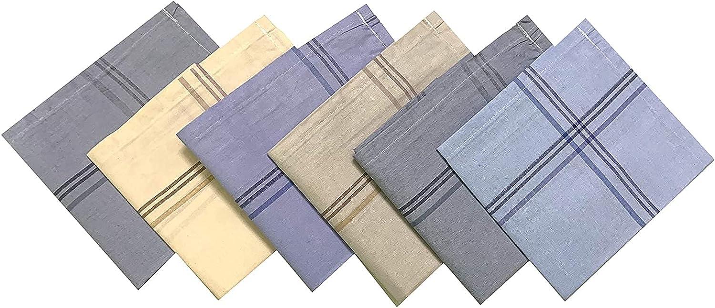 Kalagiri Cotton Premium Collection Multicolor Striped Handkerchiefs/Hanky Set For Men - Pack of 6 Pcs