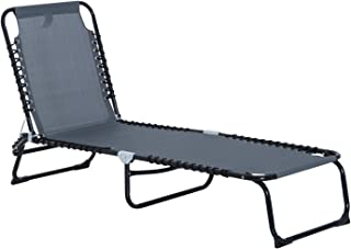 Outsunny 3-Position Reclining Beach Chair Chaise Lounge Folding Chair - Grey
