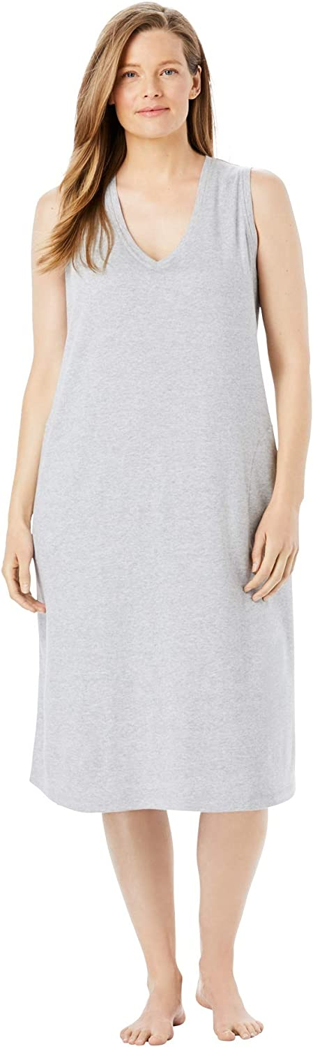 Dreams & Co. Women's Plus Size Short Knit Lounger House Dress or Nightgown - 6X, Heather Grey Gray