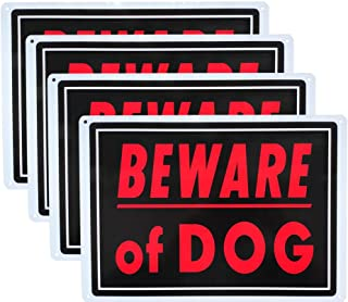 Beware of Dog Sign Meta14x10 inch Rust Free Aluminum, UV Printed, Easy to Mount Weather Resistant for Fence (4 Pack)