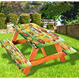 """72"""" Polyester Elastic Edge Fitted Picnic Table Cover Set,Reaching the School on Time Colorful Board Game Style Design School Bus Tablecloth Fits 6 ft Picnic Tables for Outdoor,Park,Patio"""