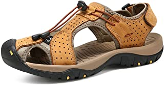 Kitulandy Mens Leather Sandals Summer Outdoor Hiking Sports Sandals Lightweight Anti-Slip Water Athletic Sandals Beach Shoes