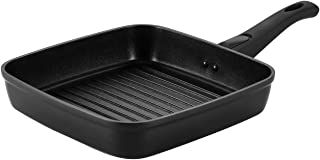 COOKER KING 10 Inch Nonstick Square Grill Pan Deep Ridge PFOA Free Removable Handle Induction Base Dishwasher Oven Safe Anti-warp Fast Heating Cast Aluminum Black