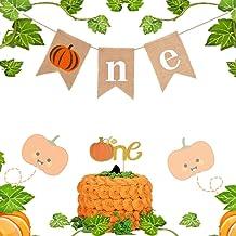 LaVenty Set of 2 Pumpkin 1st Birthday decoration Pumpkin First Birthday Banner Pumpkin Birthday Decorations Pumpkin Baby S...