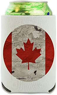 Rustic Distressed Canada Flag on Wood Can Cooler - Drink Sleeve Hugger Collapsible Insulator - Beverage Insulated Holder