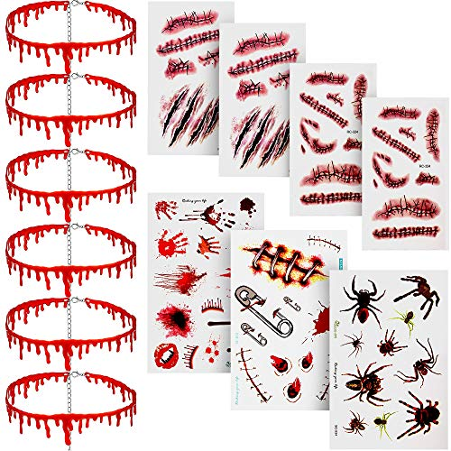 6 Pieces Halloween Dripping Blood Necklace Vampire Choker Necklace Horro Theme Party Costumes Set Decorations with 7 Pieces Scar Stickers
