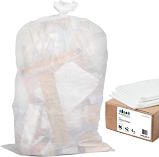 "Plasticplace Contractor Trash Bags 42 Gallon - 4.0 Mil, Clear Heavy Duty Garbage Bag 33"" x 48"" (50 Count)"