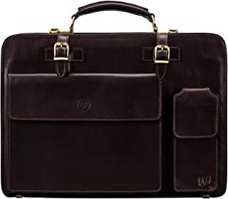 Maxwell Scott Men's Classic Leather Briefcase - Alanzo Brown