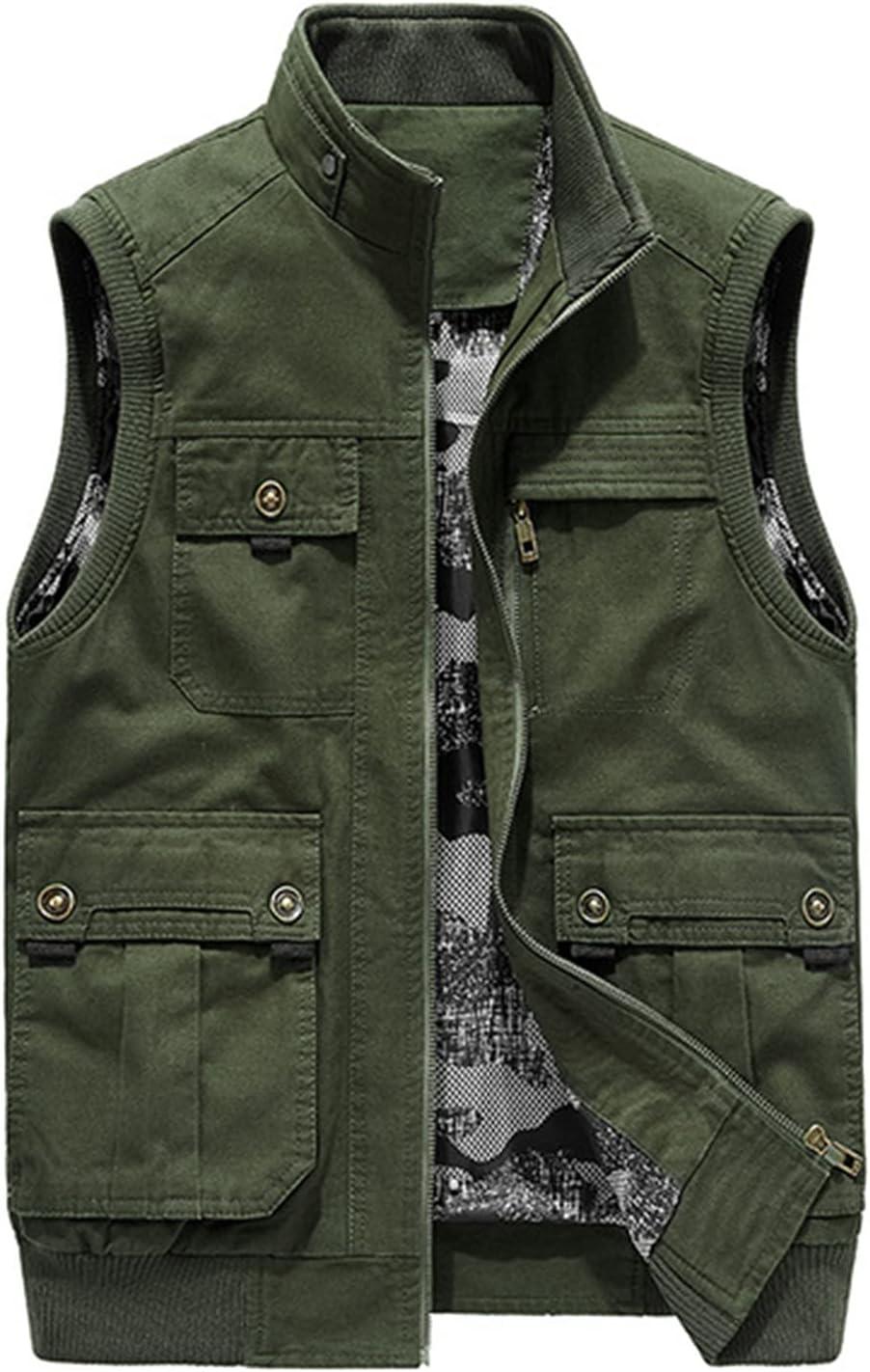 WFEI Men Vest Spring Autumn Men's Sleeveless Jacket Comfortable Men's Vest Military Vest Pocket Coat Male Waistcoat,Green,M