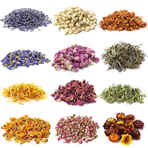 Aufisi Getrocknete Blumen Kit, 12 Beutel von 0,5 Unzen Natürliche Trockenblumenset für deko,Seife, Kerzen,Harz-Schmucksachen,Badekugeln,Blume,Nagelschmuck - Rose,Lavendel,Jasmin und etc.