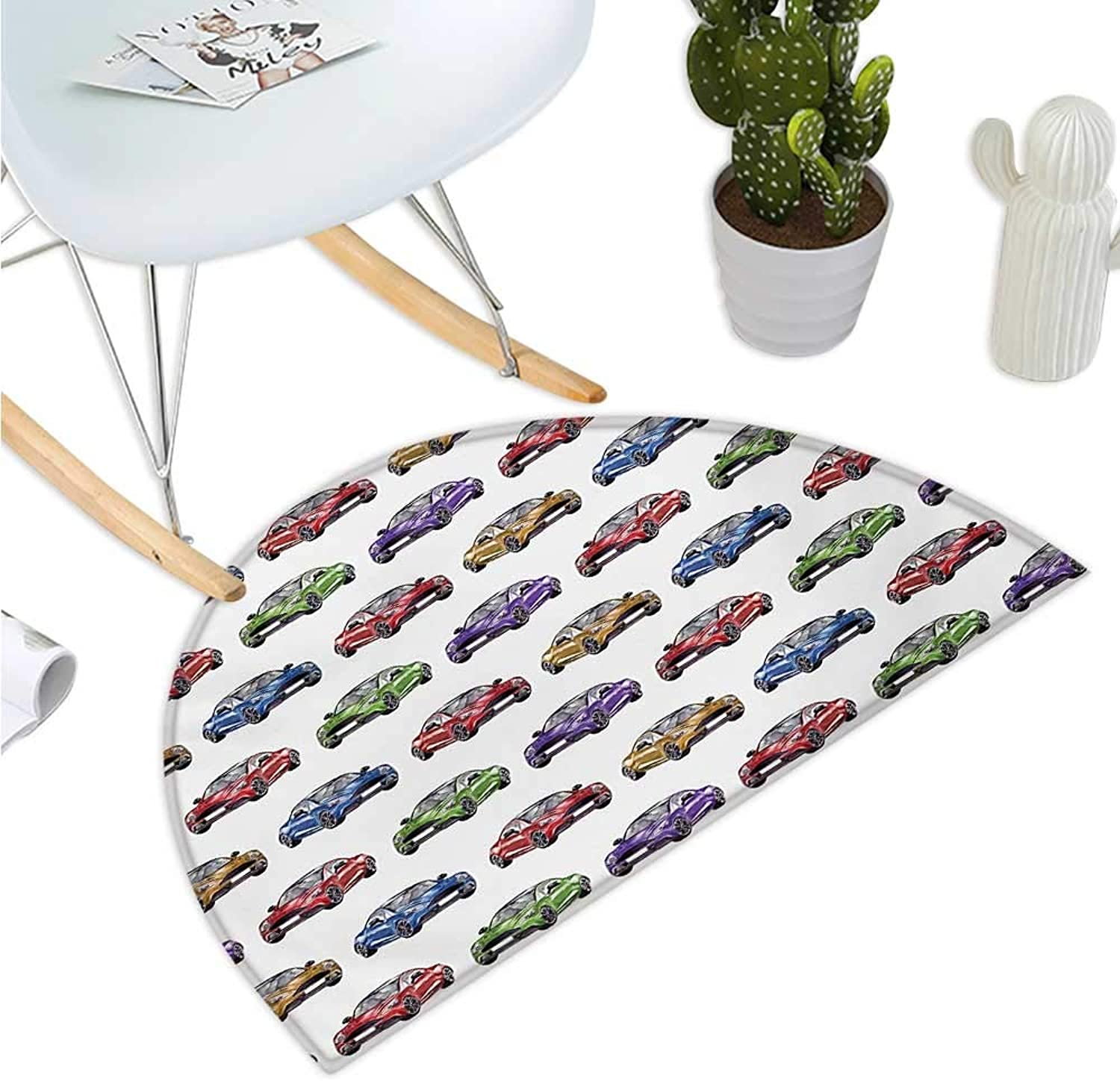 Cars Semicircular Cushion colorful Speedy Sports Cars with Different Angles Hand Drawn Fast Vehicles Bathroom Mat H 39.3  xD 59  Red Fern Green Purple