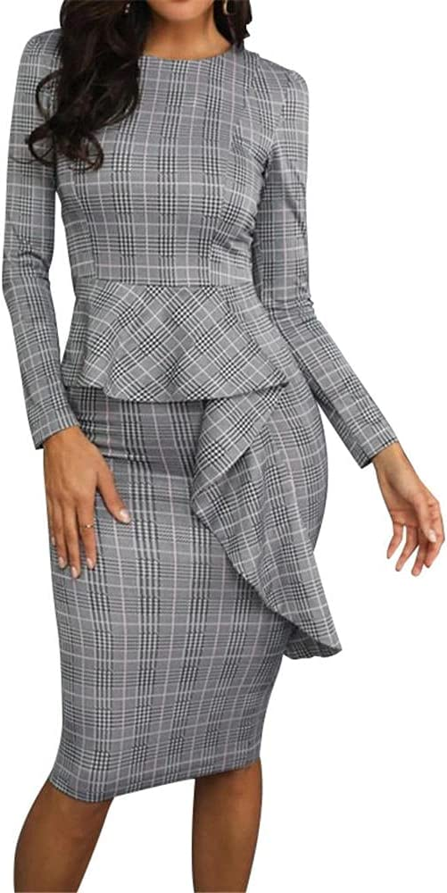 Women's Office Pencil Work Dresses Long Sleeve Round Neck Bodycon Fashion Business Cocktail Party Dress-Grey_L