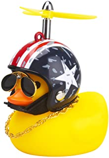wonuu Rubber Duck Toy Car Ornaments Yellow Duck Car Dashboard Decorations Cool Glasses Duck with Propeller Helmet (America...