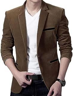 Men Corduroy Classic Fit Single Breasted Sport Coat Blazer Jacket