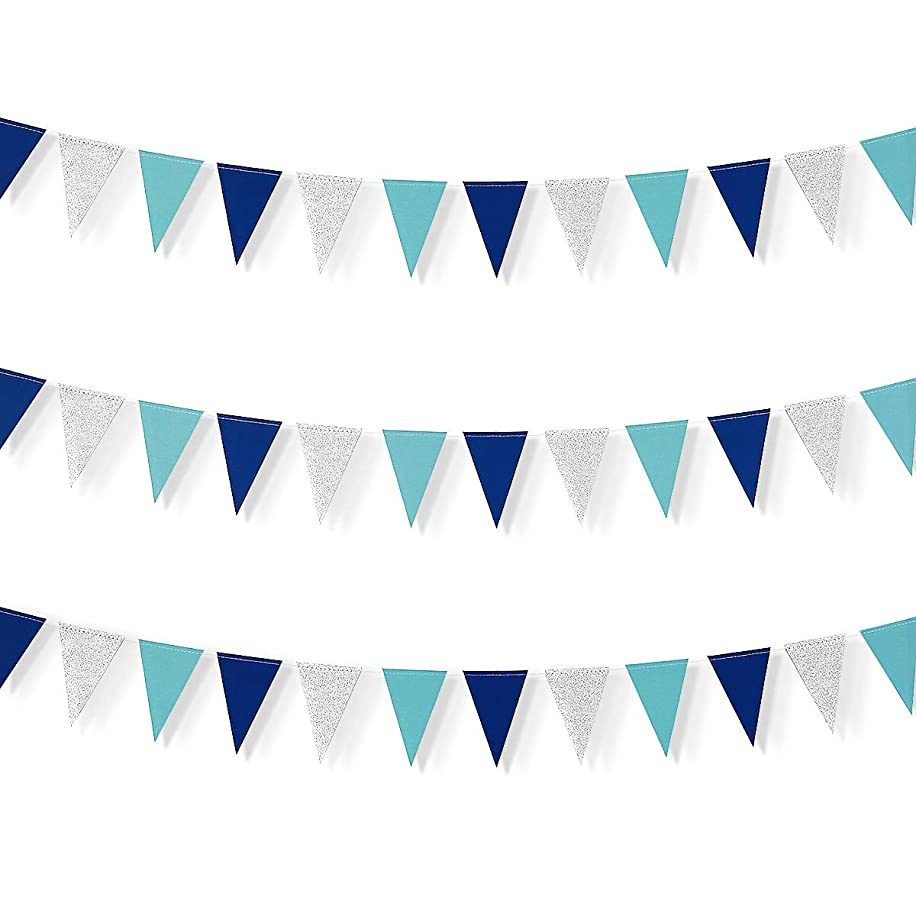Little Biene 30 Feet Nautical Glitter Paper Triangle Flag,Bunting Pennant Banner for Baby Birthday Shower/Ahoy/Achor/Pirate Theme Party Supplies Decorations(Blue and Silver).