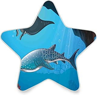 Colorful Plug in Night,Shark Deep Water Stingray with Coral Reefs Algae Rocky Cave Exotic Cartoon,Auto Sensor LED Dusk to Dawn Home Bedrooms Décor Night Light Plug in Indoor for Childs Adults
