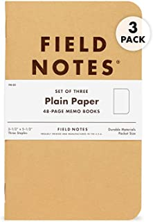 Field Notes Memo Book - Plain (Pack of 3)