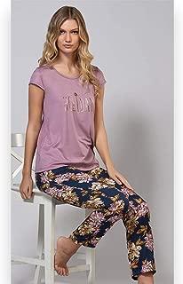 Kısa Kollu Kadın Viskon Çiçekli Pijama Takım - 51718