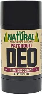 Sam's Natural Deodorant Stick - Patchouli, Aluminum Free, Vegan, Cruelty Free, 3 oz
