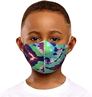 Starne Cotton Face Bandanas For Kids Tie-Dye Cloth Washable Reusable Breathable Dustproof Anti-Pollution For Outdoor (Blue)