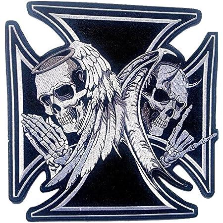 Emdomo Große Stickerei Totenkopf Flügel Schwert Aufnäher Aufbügler Motorrad Biker Abzeichen Weste Jacke Rücken Applikation 1 Stück Küche Haushalt